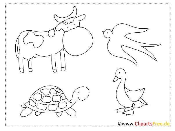 Ausmalbilder Kuh, Schwalbe, Ende, Schildkröte