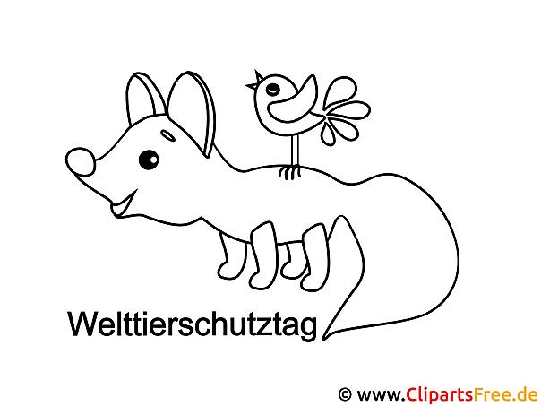 Fuchs Vogel Welttierschutztag Ausmalbild