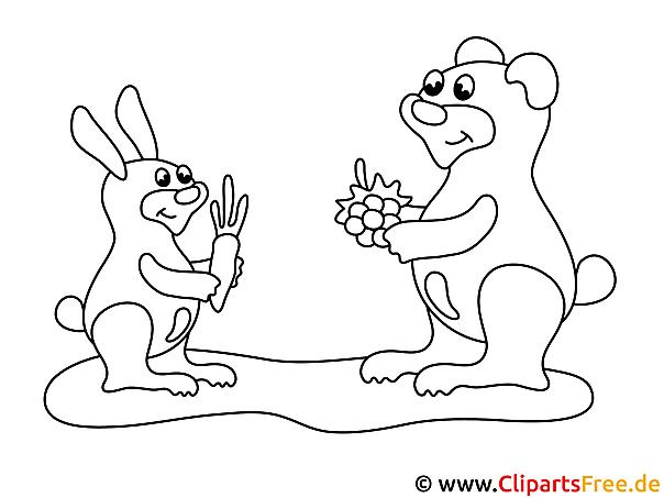Hase und Bär - einfache Ausmalbilder