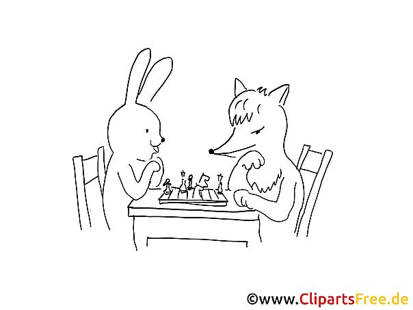 Hase und Fuchs spielen Schach Malvorlage