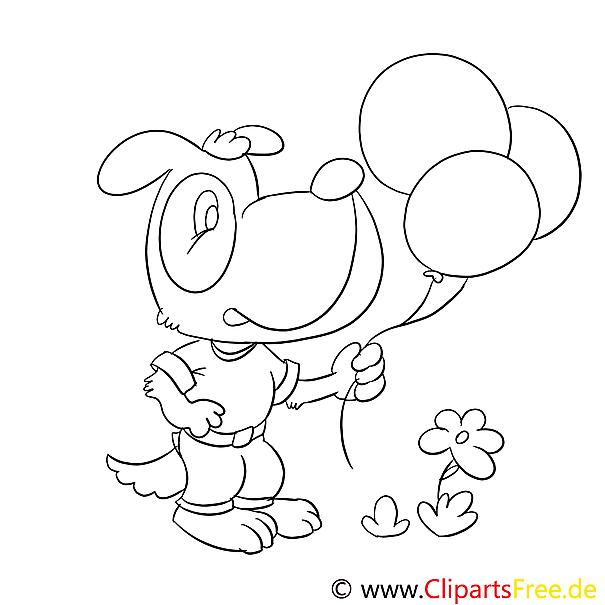 Hund mit Luftballons Ausmalbilder für Kinder gratis