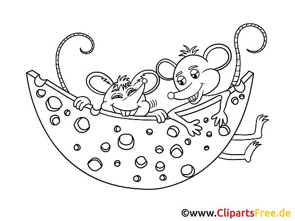 Kolorowanki do wydruku - Myszy i ser