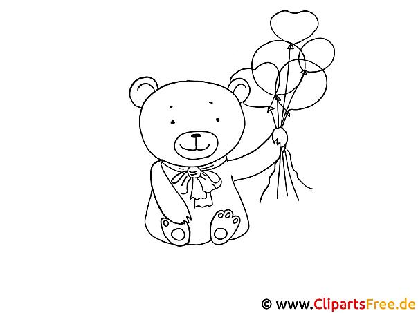 Kostenlose Malvorlage Bär mit Luftballons