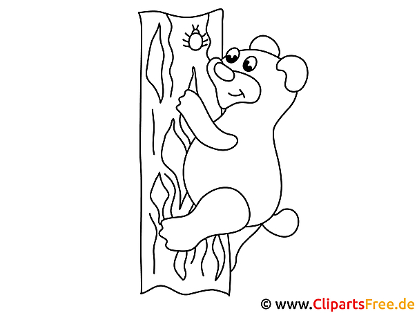 Malvorlage Bär klettert auf den Baum