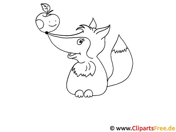 Malvorlage gratis Fuchs mit Apfel