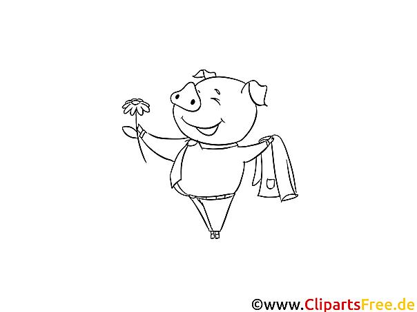 Schweinchen mit Blume Malvorlage kostenlos