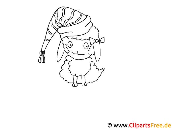 Vorlage zum Ausmalen Schaf niedlich