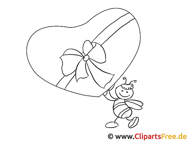 Biene Geschenk zum Valentinstag Ausmalbild