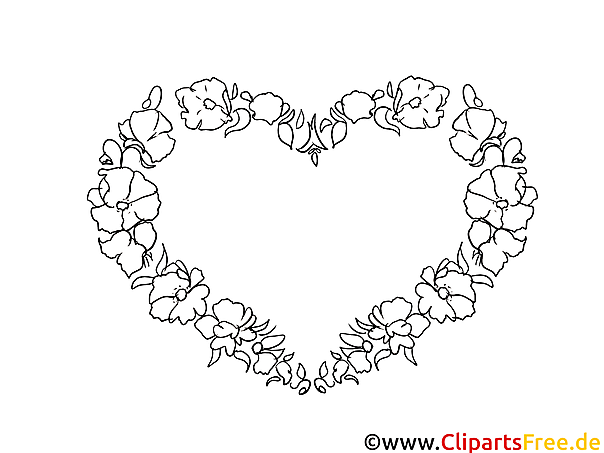 Blumen-Herz zum Drucken und Ausmalen