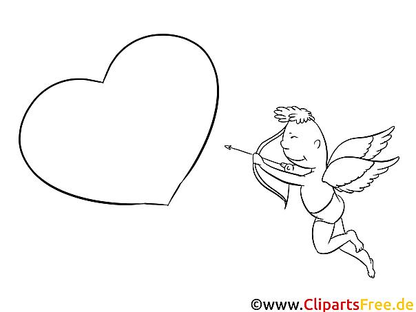 cupido mit bogen und herz bild zum drucken und ausmalen