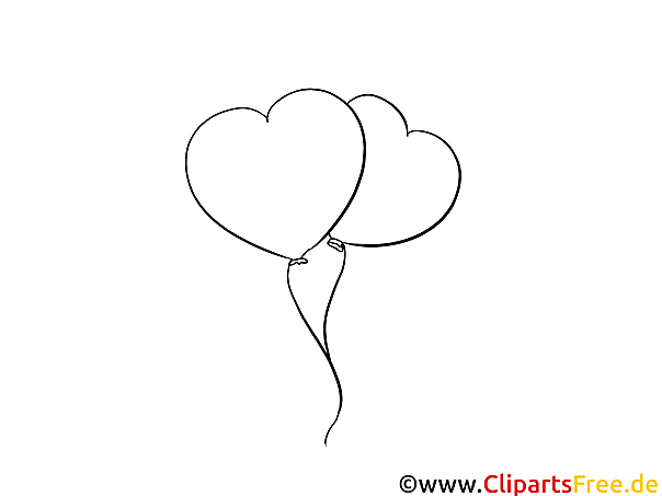 Kostenlose Malvorlage Herzen Luftballons