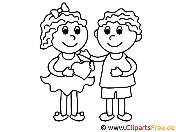 Mädchen Und Junge Valentinstag Ausmalbilder Für Kinder Kostenlos