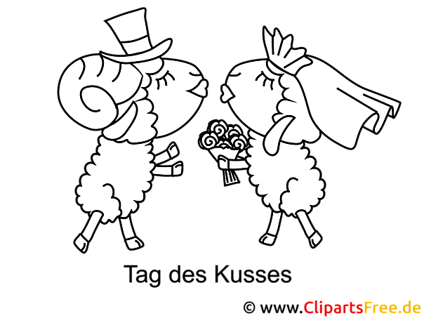 Schafe Brautpaar Malvorlage kostenlos