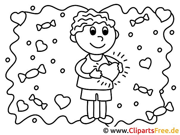 Verliebter Junge Ausmalbilder für Kinder kostenlos ausdrucken