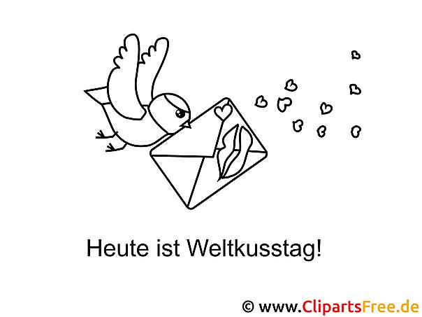 Vogel mit Brief Malvorlage zum Drucken