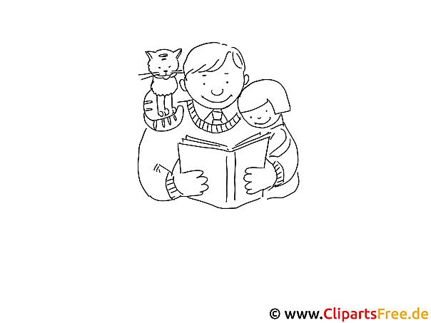 Papa und Kinder lesen ein Buch Malvorlage zum Drucken