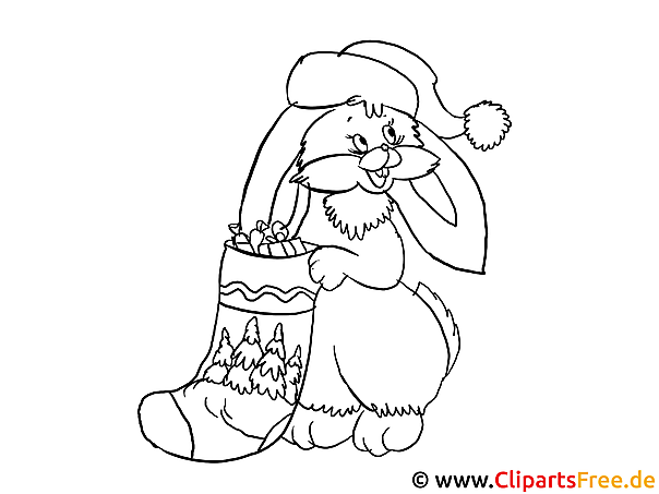 Advent Malvorlagen - Hase und Nikolausschuh