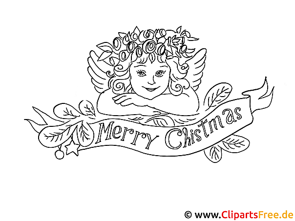 Coloring Sheet Merry Christmas With Angel