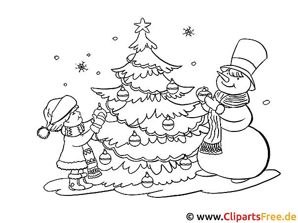 malvorlage advent mit weihnachtbaum kinder und schneemann. Black Bedroom Furniture Sets. Home Design Ideas