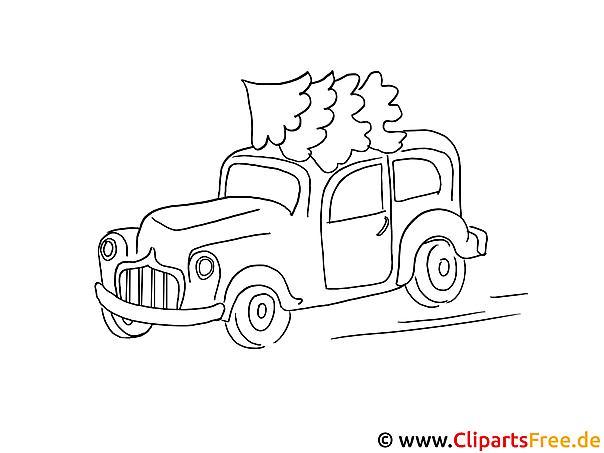 Malvorlage Christbaum auf dem Auto