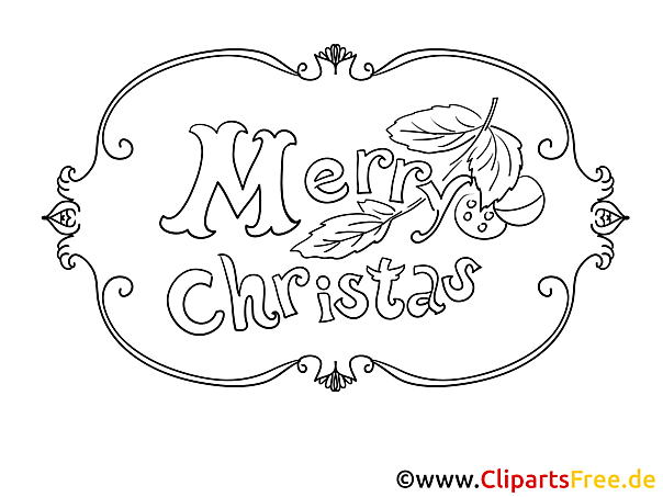 Merry Christmas Schrift zum Drucken und Ausmalen