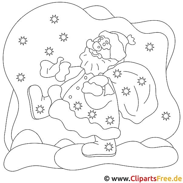 Santa Claus Bild, Malvorlage, Ausmalbild gratis