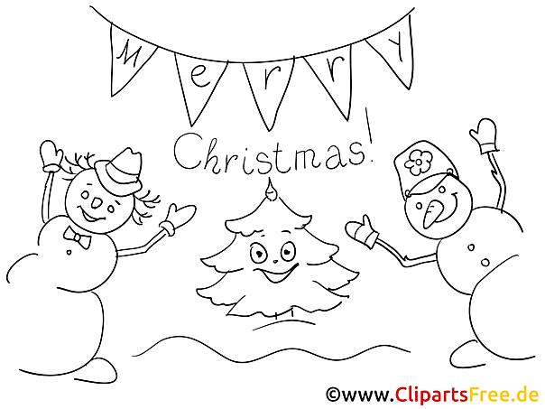 Schneemänner Ausmalbilder zu Weihnachten, Winter
