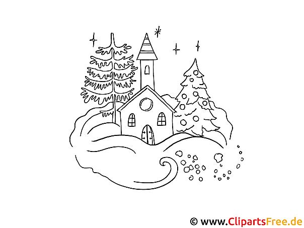 Weihnachten zum Ausmalen - Gebirgedorf im Winter