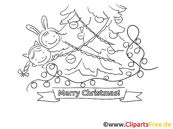 Weihnachtsfeier im Kindergarten Ausmalbild gratis