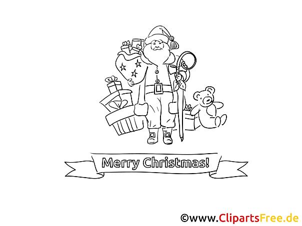 Weihnachtsmann gratis Bild zum Ausmalen
