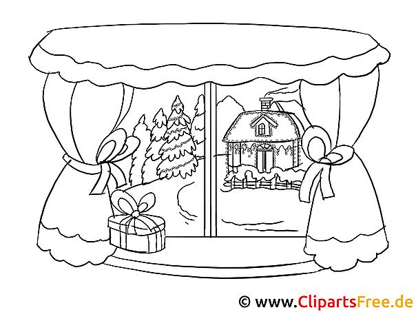 Bild zum Ausmalen   Winterlandschaft im Fenster