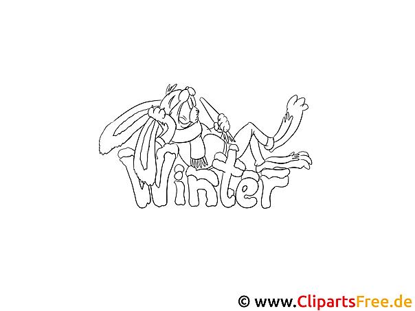 Winter Bild zum Ausmalen gratis