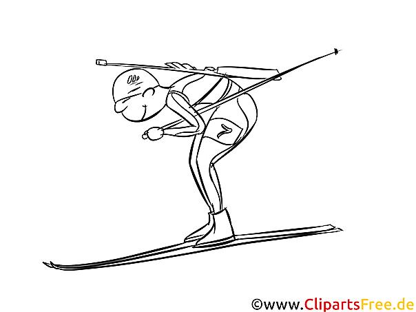 Biathlon Bild schwarz-weiß, Illustration, Grafik zum Ausmalen