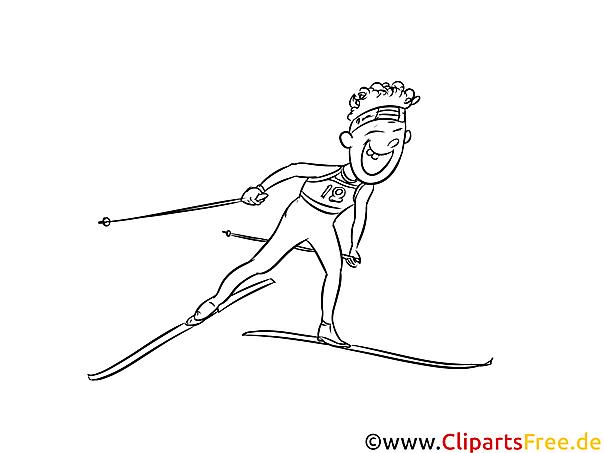 Ski Langlauf Bild schwarz-weiß, Illustration, Grafik zum Ausmalen