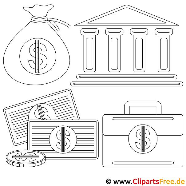 Bank Bild zum Ausmalen, Malvorlage, Ausmalbild