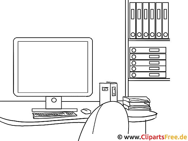 Computer Büroregal Ausmalbild