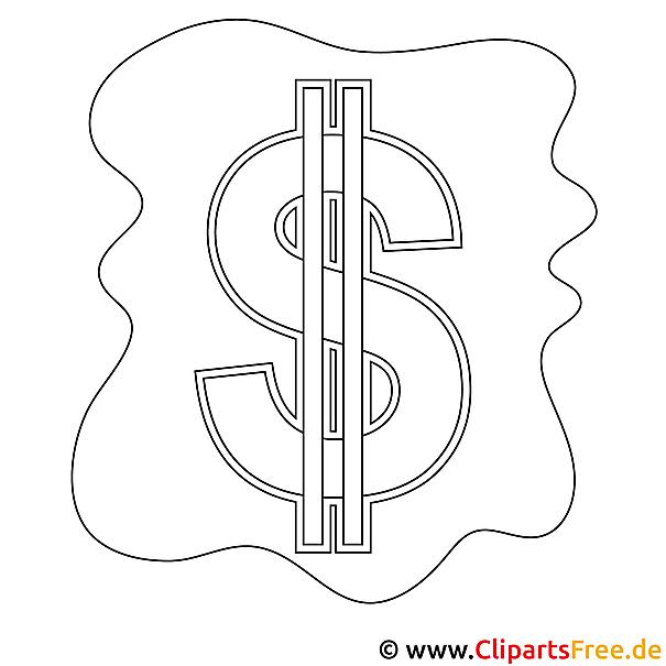 Dollar Bild zum Ausmalen, Malvorlage, Ausmalbild