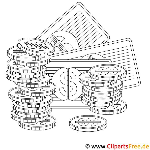 Dollars Bild zum Ausmalen, Vorlage, Ausmalbild