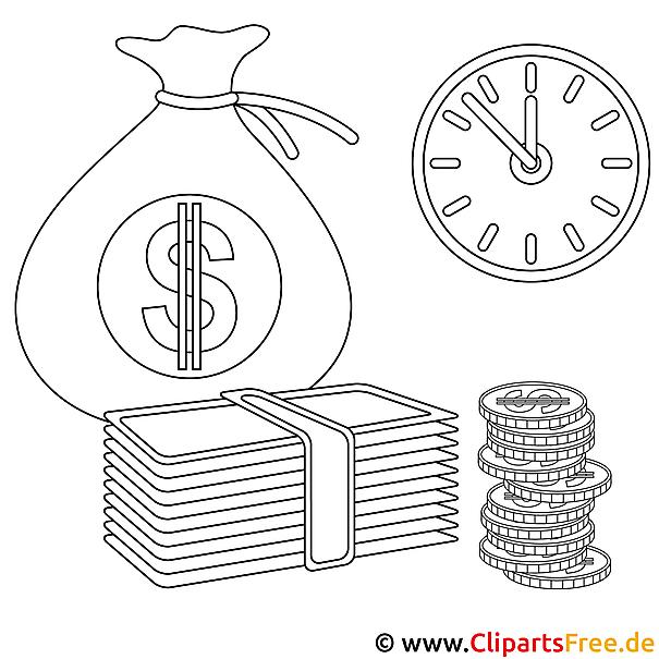 Geld Bild zum Ausmalen