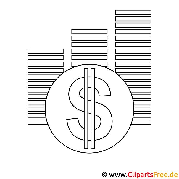 Geld Bild zum Ausmalen, Malvorlage