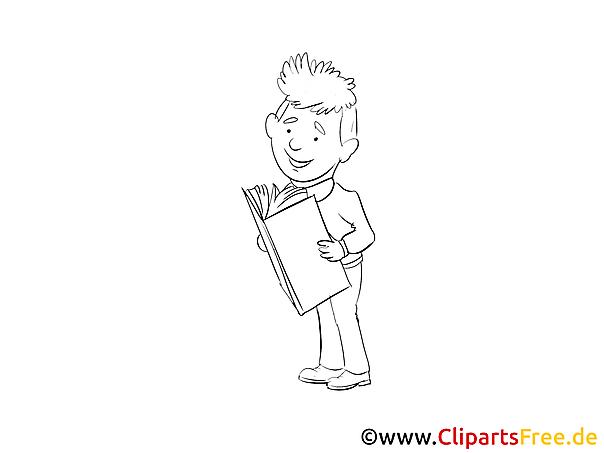 Junge mit Buch Malvorlage