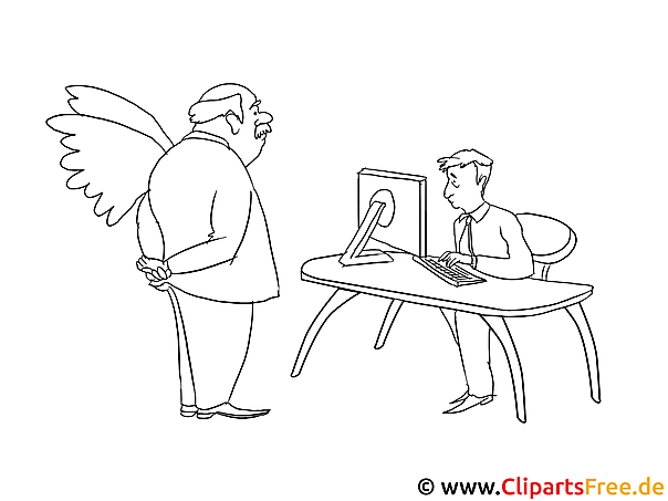 Mann mit Flügeln Büro Malvorlage