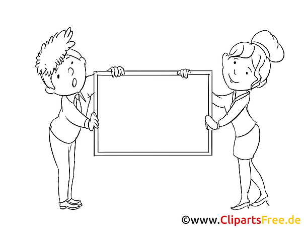 Mann und Frau halten Tafel Ausmalbilder für Kinder gratis