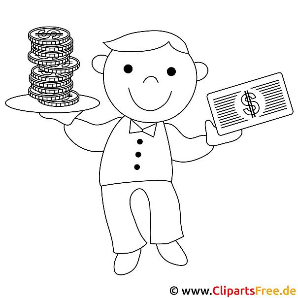 Mensch mit Geld Bild zum Ausmalen, Malvorlage