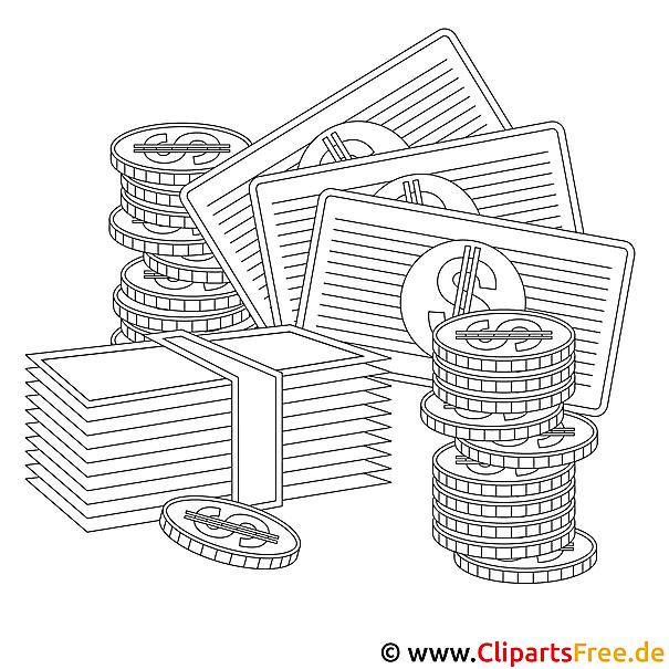 Money Bild zum Ausmalen, Vorlage, Ausmalbild