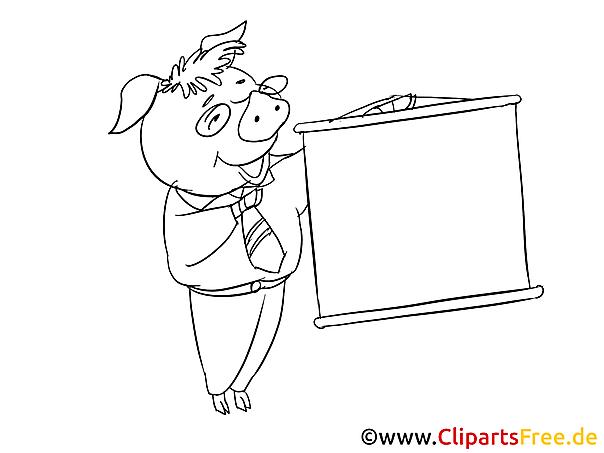 Schwein hält Vortrag Ausmalbild