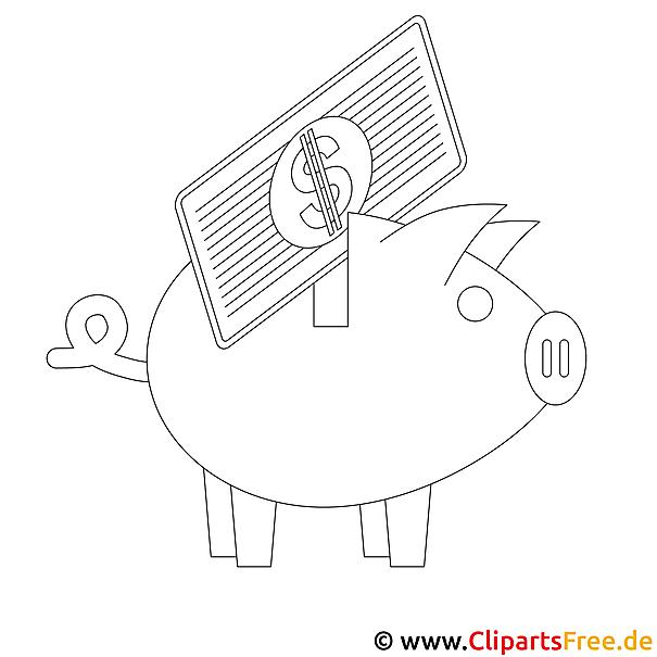 Sparen Schwein Bild zum Ausmalen, Malvorlage