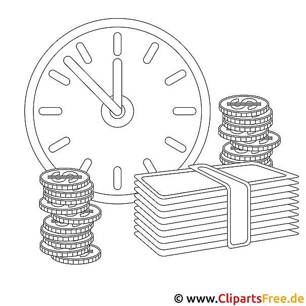 Zeit ist Geld Bild zum Ausmalen kostenlos