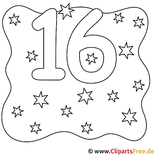 Zahl 16 Mit Sternen Bild Zum Ausmalen
