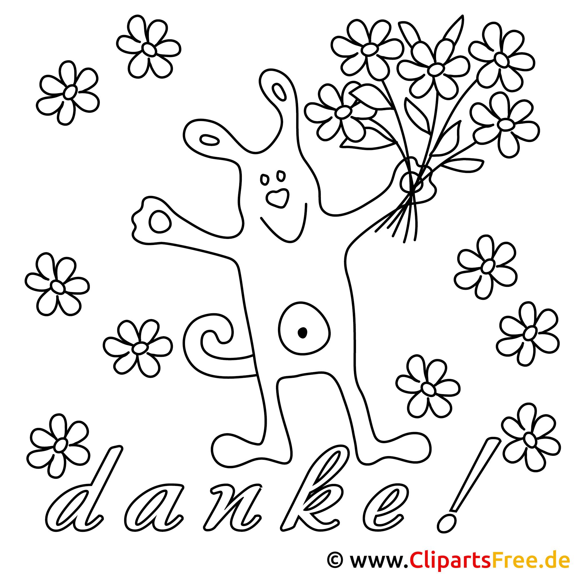 Ausmalbild Hund mit Blumenstrauss